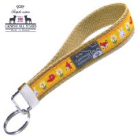 WRISTLET KEYCHAIN - CUTE FOREST FRIENDS ON MAIZE YELLOW
